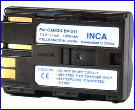 INCA Battery for Canon BP-511 BP-511A