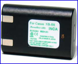 INCA Battery for Canon PowerShot S10, S20, A5, A50 520, and Pro