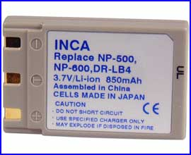 Inca 800mAH battery replaces Minolta NP-500 NP-600